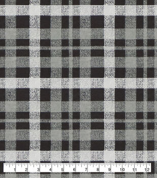 Super Snuggle Flannel Fabric-Alex Gray & Black Plaid