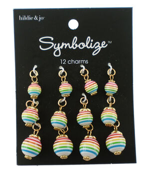 hildie & jo Symbolize 12 pk Round Gold Charms-Rainbow Stripes
