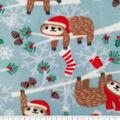 Christmas Anti-Pill Plush Fabric-Sloths