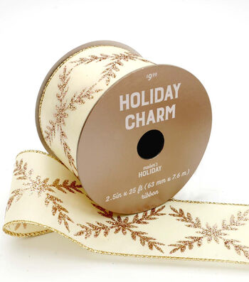 Maker's Holiday Christmas Glitter Ribbon 2.5''x25'-Rose Gold