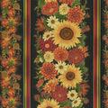 Harvest Cotton Fabric-Large Sunflowers & Stripes