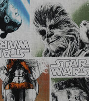"Star Wars: The Last Jedi Cotton Fabric 44""-Character Block, , hi-res"