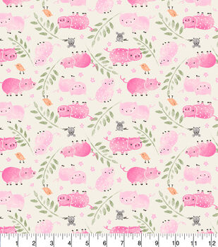 Super Snuggle Flannel Fabric-Tossed Piggies