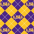 Louisiana State University Tigers Fleece Fabric -Argyle