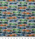 Novelty Cotton Fabric-Race Cars on Gray