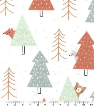 Nursery Flannel Fabric-Woodland Peaking Animals
