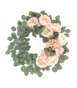 Fresh Picked Spring 22'' Peony, Rose & Eucalyptus Wreath