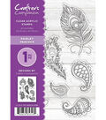 Crafter\u0027s Companion 8 pk Clear Acrylic Stamps-Paisley Peacock