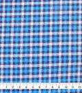 Plaiditudes Brushed Cotton Fabric-Blue, Navy & Cyan Checked