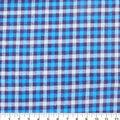 Plaiditudes Brushed Cotton Fabric-White, Navy & Cyan Checks