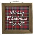 Handmade Holiday Christmas Wall Decor-Merry Christmas on Tartan