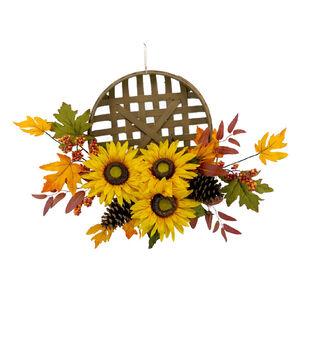 Blooming Autumn Sunflower, Berry & Pinecone Wreath-Yellow