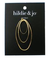 hildie & jo 1.13''x2.13'' Metal Open Ovals Pendant-Gold, , hi-res