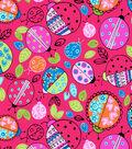 Snuggle Flannel Fabric 43\u0022-Doily Ladybug Red