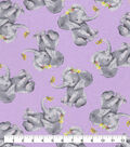 Snuggle Flannel Fabric-Realistic Elephants with Flowers