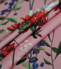Silky Stretch Crepe Fabric 57\u0022-Pink Whimsy Stems