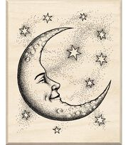Inkadinkado Rubber Stamp With Wood Handle-Cresent Moon, , hi-res