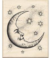 Inkadinkado Rubber Stamp With Wood Handle-Cresent Moon, , hi-res