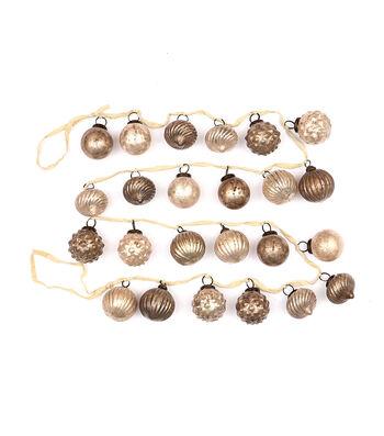3R Studios Christmas Embossed Mercury Glass Ornament Garland-Champagne
