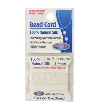 The Bead Buddy 78.7'' Silk Cord Thread with Needle-White