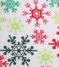 Christmas Cotton Fabric 43\u0027\u0027-Red & GreenSnowflakes on White