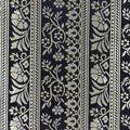 Brocade Fabric-Floral Stripe Royal & Navy