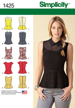 Simplicity Pattern 1425D5 4-6-8-10-1-Misses Tops Vests