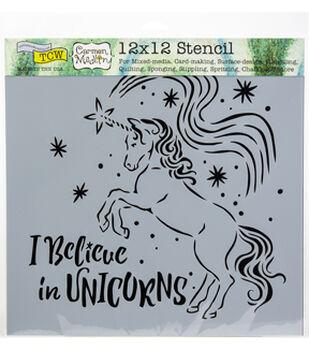"Crafter's Workshop Template 12""X12""-Believe In Unicorns"
