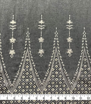 Specialty Cotton Embroidered Scallop Fabric-Chambray Blue White