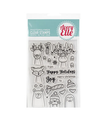 Avery Elle Christmas 27 pk Clear Stamps-Polar Peek-A-Boo Pals