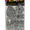 Stampendous Laurel Burch Cling Stamp W/Template-Feline Blooms