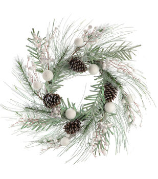 Handmade Holiday Christmas 5'' Frosted Pine, Ball & Berry Wreath