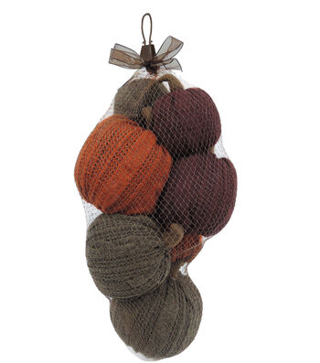 Simply Autumn Sweater Pumpkins in Mesh Bag