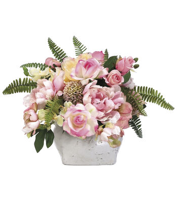 Bloom Room Luxe 14'' Rose, Peony, Allium & Hydrangea In Pot-Pink