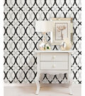 WallPops NuWallpaper Black and Silver Lattice Peel And Stick Wallpaper