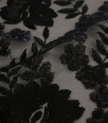"Embroidered Sequin Mesh Fabric 55""-Black Leaf"
