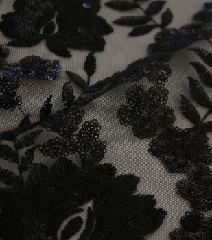 Embroidered Sequin Mesh Fabric-Black Leaf