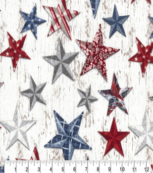 Patriotic Cotton Fabric-Multi Colored Stars on White Plank