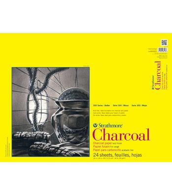 "Strathmore Charcoal Paper Pad 18""X24""-64lb White 24 Sheets"