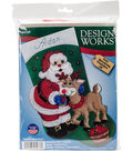 Design Works 18\u0027\u0027 Felt Stocking Applique Kit-Santa & Deer