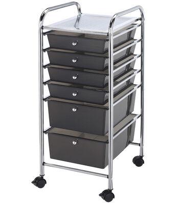 Blue Hills Studio Storage Cart with 6 Drawers-Smoke