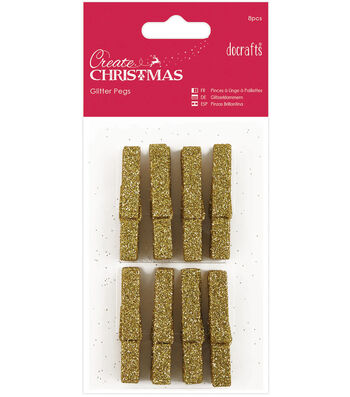 Papermania 8ct Create Christmas Glitter Pegs
