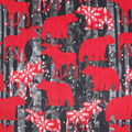 Anti-Pill Plush Fleece Fabric-Bristol Bear Moose Allover