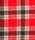 Shirting Cotton Flannel Fabric 43\u0022-Red, Green & Cream Plaid
