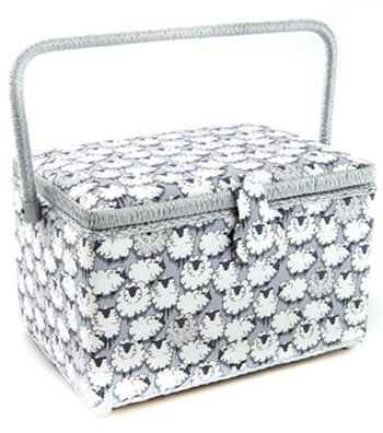 Large Rectangle Sewing Basket-Gray Sheep