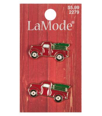 LaMode 2 Enamel Pickup Truck With Tree Shank Buttons