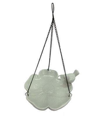 Hello Spring Gardening Ceramic Flower Hanging Bird Feeder-Gray