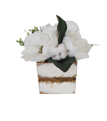 Blooming Holiday Farm Large Magnolia & Greenery Wood Arrangement
