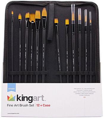 KINGART Paint Brush Set & Case 12/Pkg-Fine Art