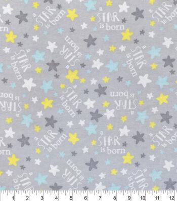 """Nursery Flannel Fabric 42""""-A Star Is Born Grey"""